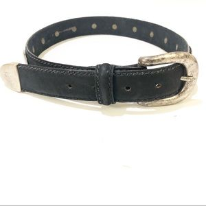 Leather Studded Belt Full Grain Black Steel Small